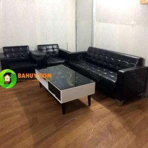 Thanh lý gấp 10 bộ sofa da đen xịn mới 98% – SF1
