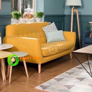 Sofa nỉ 1,6m màu vàng hiện đại, mới 99%